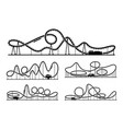 rollercoaster silhouettes isolate on white vector image