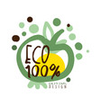 one hundred percent eco label original design vector image