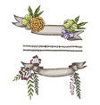 Hand drawn ribbon decorated with flower and vector image