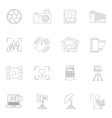 Photography icons outline vector image vector image