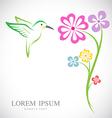 Hummingbird and flowers vector image