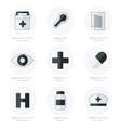 Flat icons set of medical tools Black and white vector image