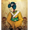 geisha on grunge background vector image