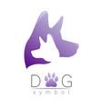 dog logo violet trend gradient silhouette vector image