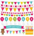 Kid birthday party decoration set vector image