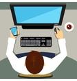 Man working on desktop computer with blank screen vector image