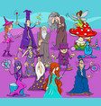 Witches and wizards cartoon characters group vector image
