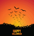 Halloween background with bats and pumpkins vector image