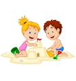 Children cartoon making sand castle vector image