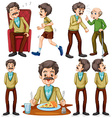 Old man doing different activities vector image vector image