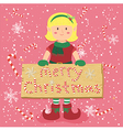 Board Candy Cane Christmas Elf Blonde Girl vector image
