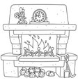 fireplace with burning firewood vector image