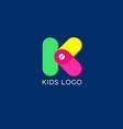 k monogram kids emblem logo vector image
