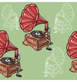 seamless background with vintage phonograph vector image
