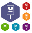 symbol of hospital road sign icons set vector image