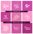 Valentines Day Pink and Purple Greeting Card Set vector image