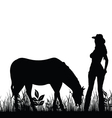 woman with horse vector image