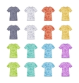 Female colored short sleeve t-shirts with the vector image