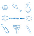 hand drawn sketch hanukkah elements set vector image