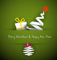 Simple red christmas card with gift tree and vector image vector image