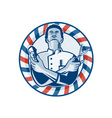 Barber With Pole Hair Clipper and Scissors Retro vector image