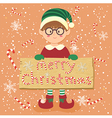 Board Candy Cane Christmas Elf Glasses Boy vector image