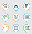 set of 9 education icons includes e-study vector image