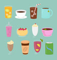 set of drinks in flat cartoon vector image