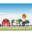 A girl standing near the red barnhouse inside the vector image vector image