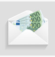 open envelope and 100 euro bills cash vector image vector image