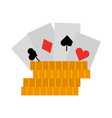 casino chips with poker cards vector image