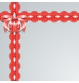 Red lace ribbons with satin bow on a gray vector image