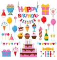 Celebration happy birthday party symbols carnival vector image