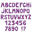 awesome letters and numbers with metallic contour vector image