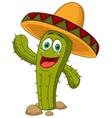 Cute cactus cartoon character vector image