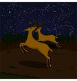 Reindeer at night vector image