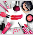 sets of cosmetics on gray background vector image