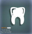 Tooth icon On the blue-green abstract background vector image