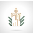 Yellow Christmas candle flat line icon vector image
