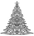 zentangle christmas tree decorative doodle vector image