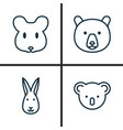 Zoology icons set collection of bunny rat vector image