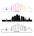 Denver skyline linear style with rainbow vector image