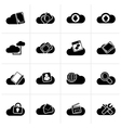 Black cloud services and objects icons vector image