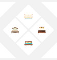 flat bed set of hostel bedroom cot and other vector image