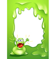 A green border template with a green monster vector image