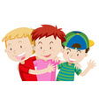 Three boys hugging and smiling vector image