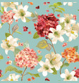 autumn hortensia and lily flowers background vector image