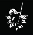 black white samurai figure with sword vector image