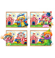 Four photo frame of clowns at the circus vector image