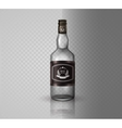 Glass brandy bottle with screw cap isolated o vector image